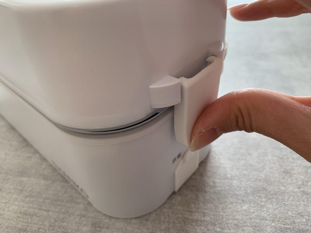 サンコー弁当箱炊飯器の蓋を締める