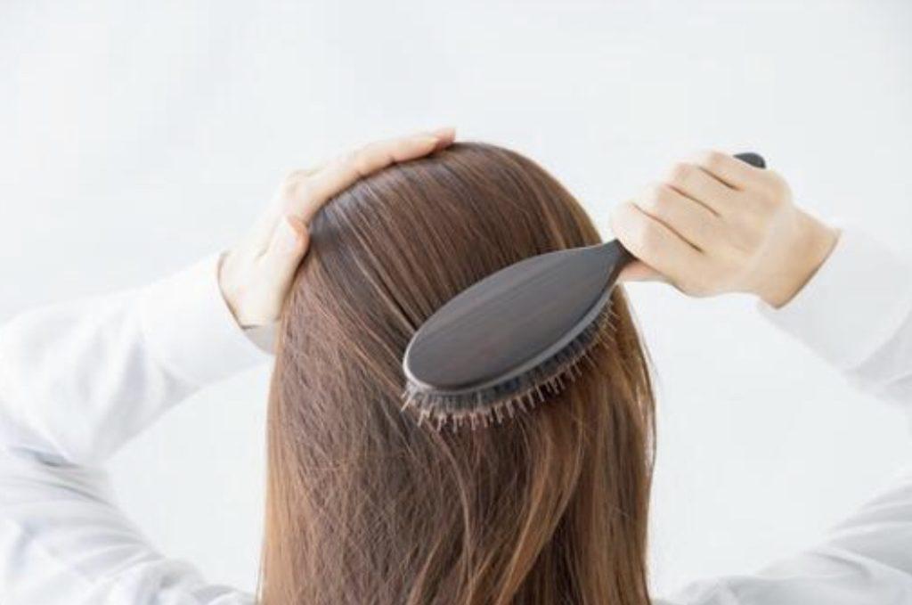 ブラシで髪の毛をとく画像